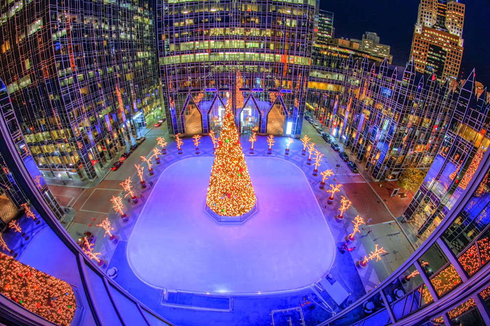 The Rink At Ppg Place Overhead With Tree