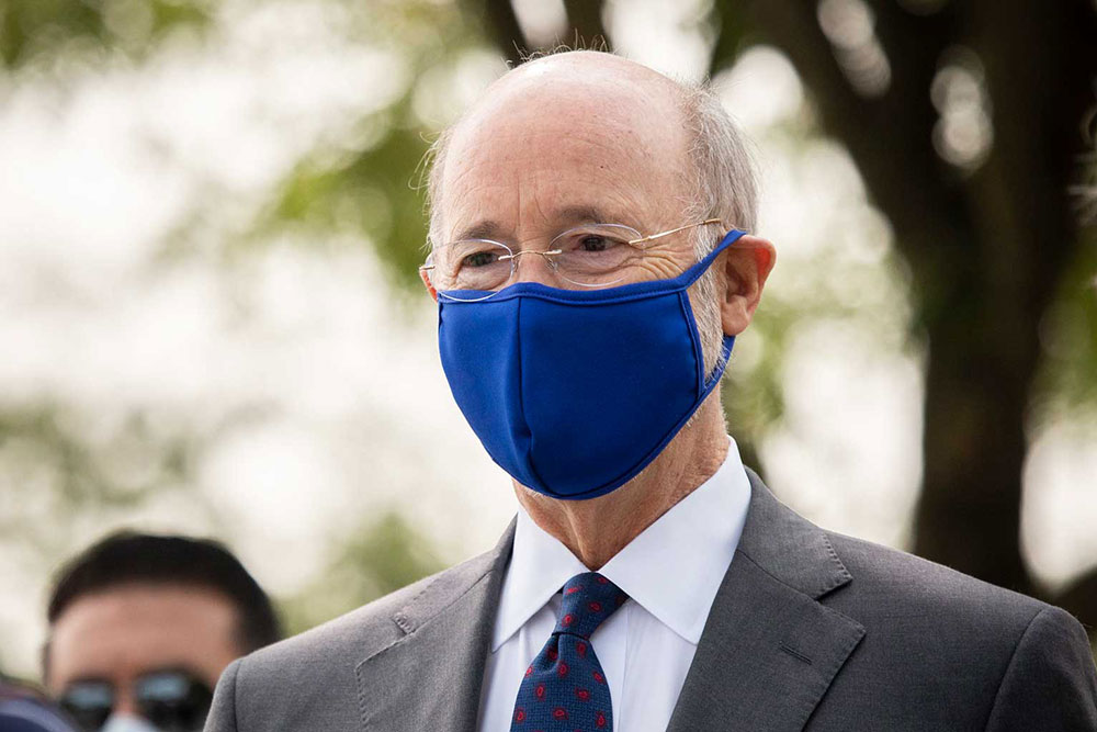 Governor Tom Wolf Outside Wearing A Blue Mask