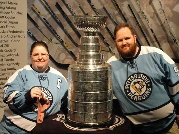 Michelle, Mike and Stanley Cup. (and sock!)